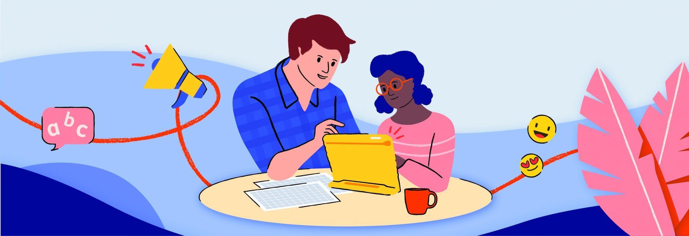 Illustration d'un jeune homme et d'une jeune femme assis à une table derrière un iPad.