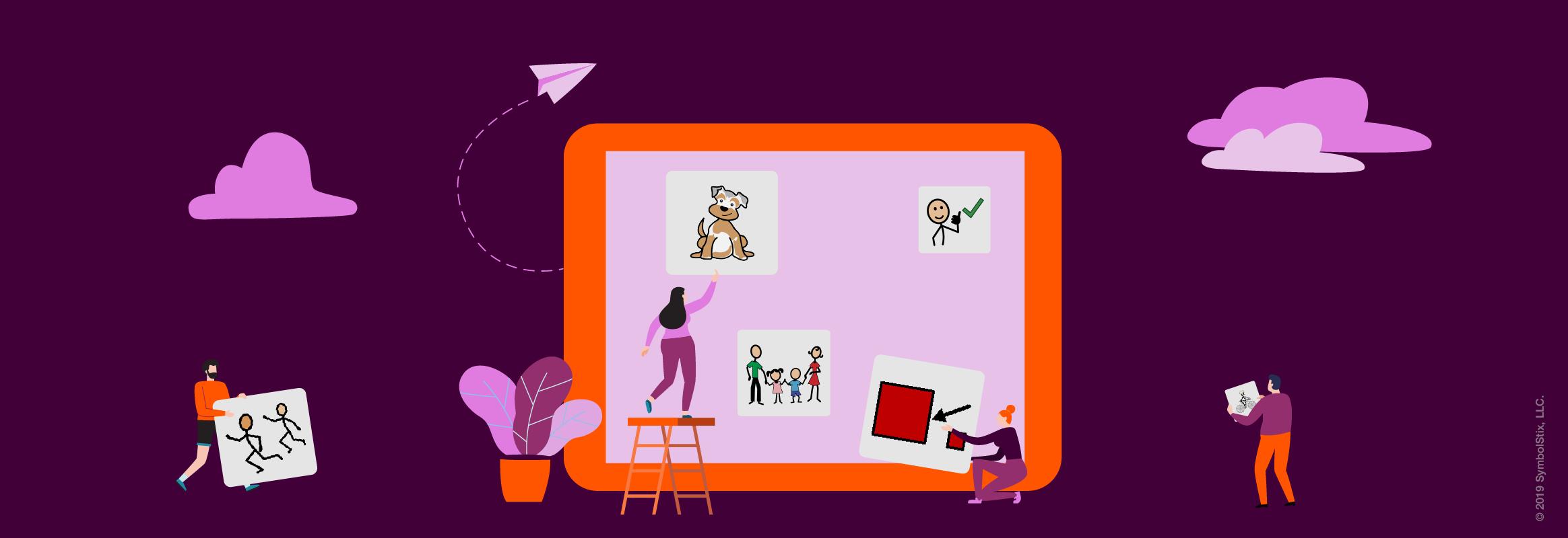 Illustration with people putting symbols on a big iPad