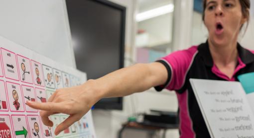 Speciaal onderwijs lerares wijst naar symbool op kernwoordenposter terwijl ze het woord uitspreekt en het voorleesboek vasthoudt.