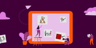 Ilustración con gente poniendo símbolos en un gran iPad