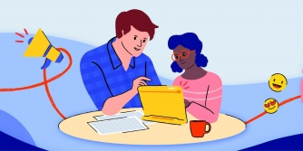 Illustration of a man and girl sitting at table behind an iPad.