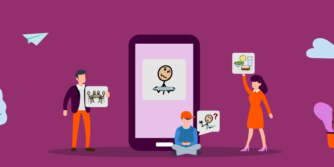 Illustration with people showing symbols in front of a big iPad