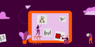 Illustration with people putting symbols on a big iPad