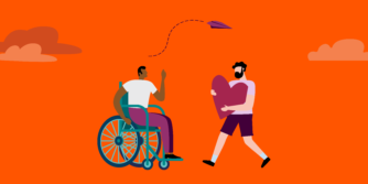 Illustration with one person in a wheelchair and another one standing holding a big heart symbol, facing each other.