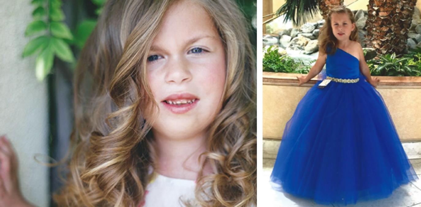 Girl in beauty pageant dress