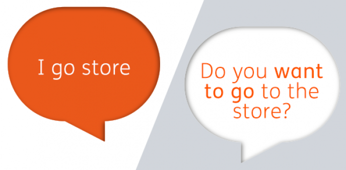 """Text bubles: """"I go store"""" and """"Do you want to go the store?"""""""