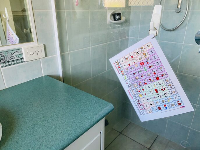 Hang quick communication boards in bathrooms