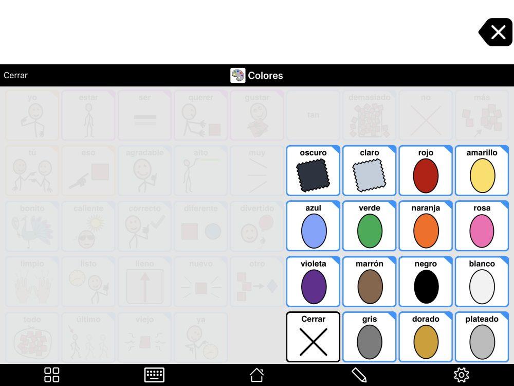 Elemento emergente de Colores en Proloquo2Go