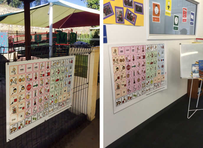 Core words boards available at a playground and in a classroom