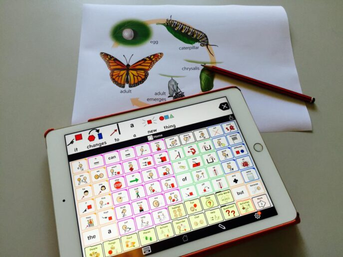 Proloquo2Go on iPad with core words and diagram of butterfly life cycle