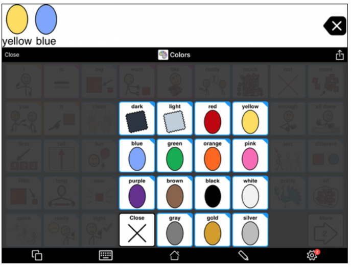 Colors pop-up in Proloquo2Go