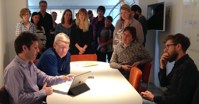 Tim Cook in the AssistiveWare office
