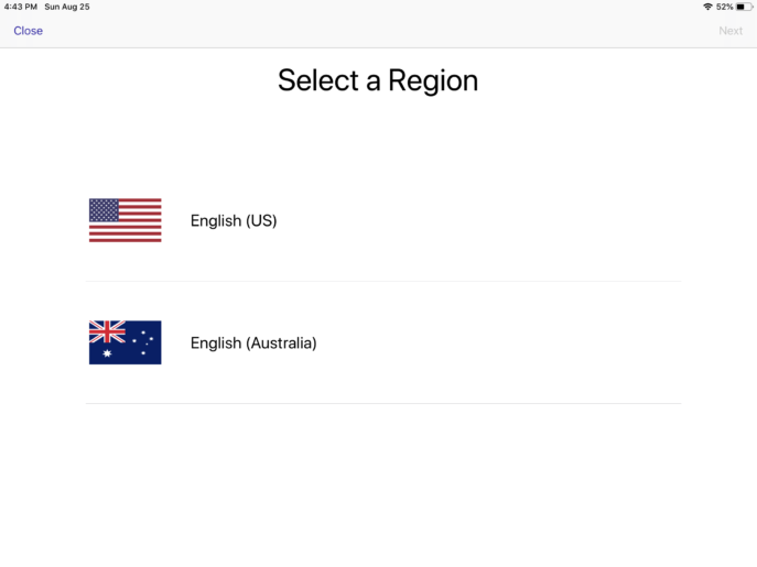 Region choice in simPODD showing US and Australian options