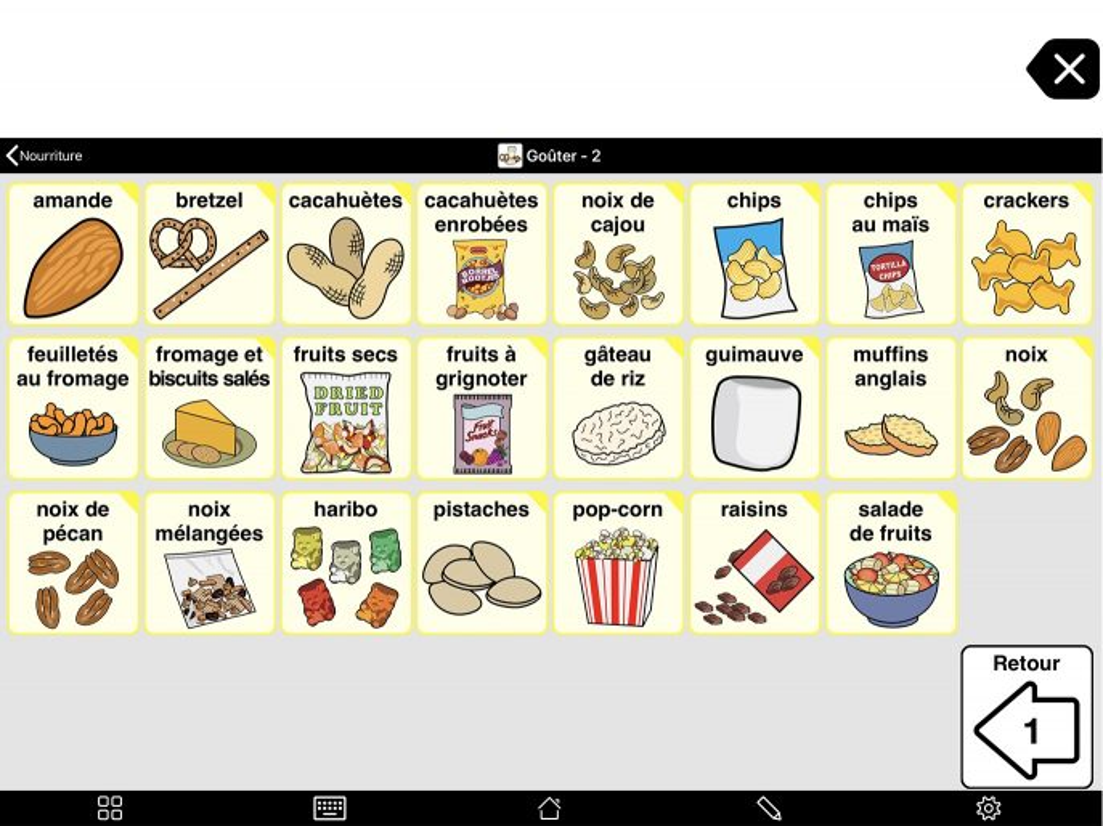 Capture d'écran du Deuxième niveau du dossier Nourriture