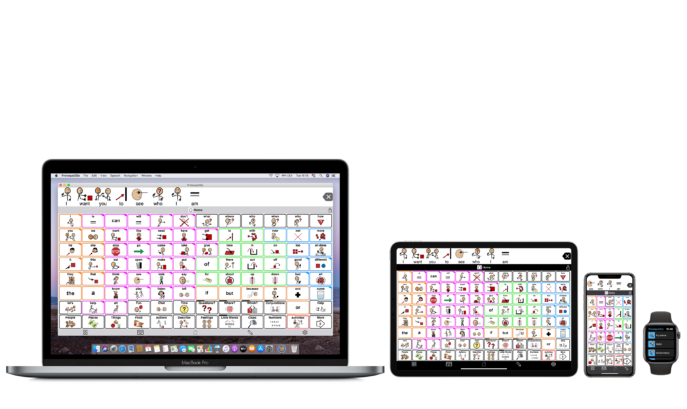 Proloquo2Go on Mac laptop, iPad, iPhone and Apple Watch