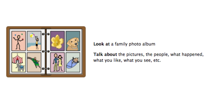 Look at a family photo album. Talk about the pictures, the people, what happened, what you like, what you see.