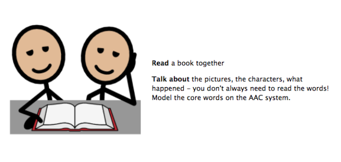 Read a book together. Talk about the pictures, the characters, what happened. You don't always need to read the words! Model the core words on the AAC system