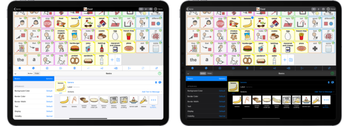 Two iPads with Proloquo2Go one with Light Mode and one with Dark mode