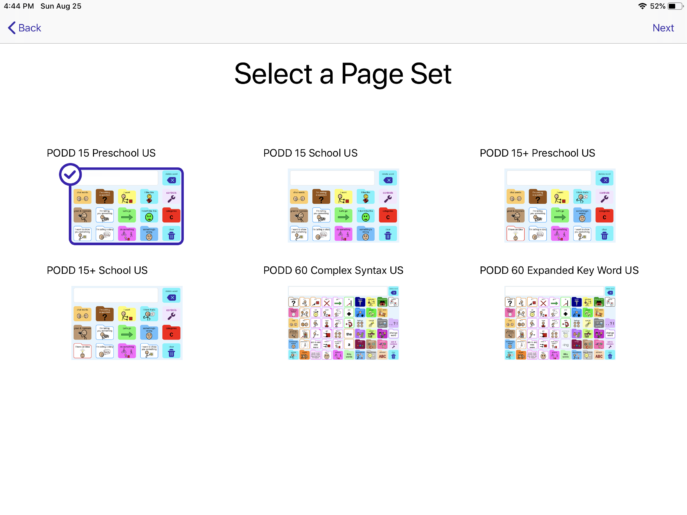 simPODD page set options in set-up