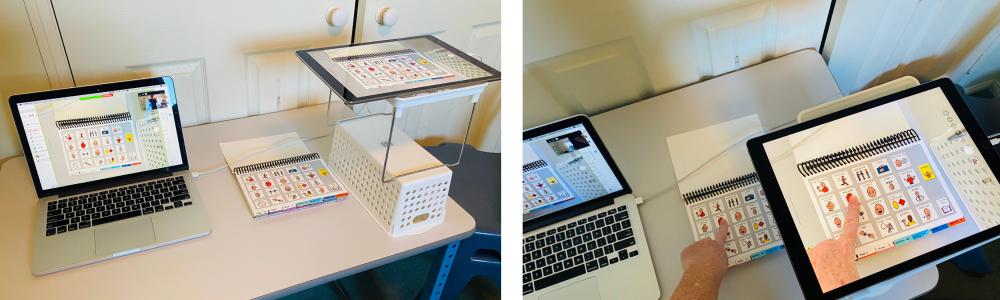 iPad gebalanceerd op plank als documentcamera naast laptop