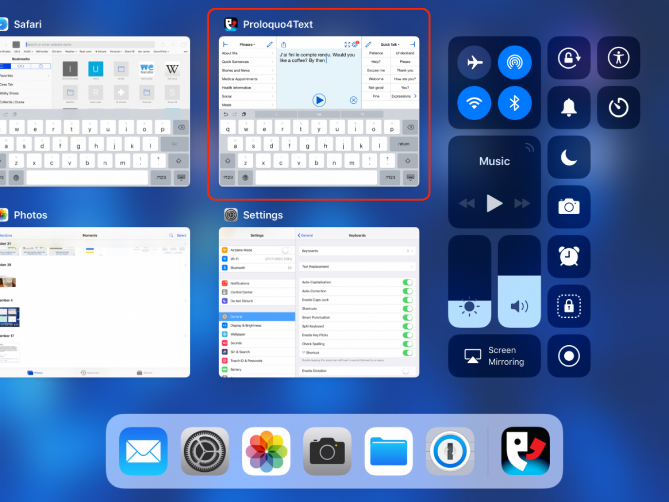 iOS Control Center with Proloquo4Text selected