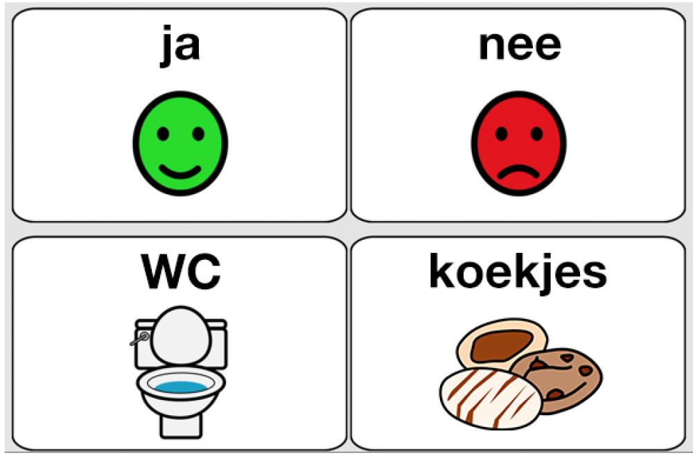 Vier pictgrammen: ja, nee, wc, koekjes