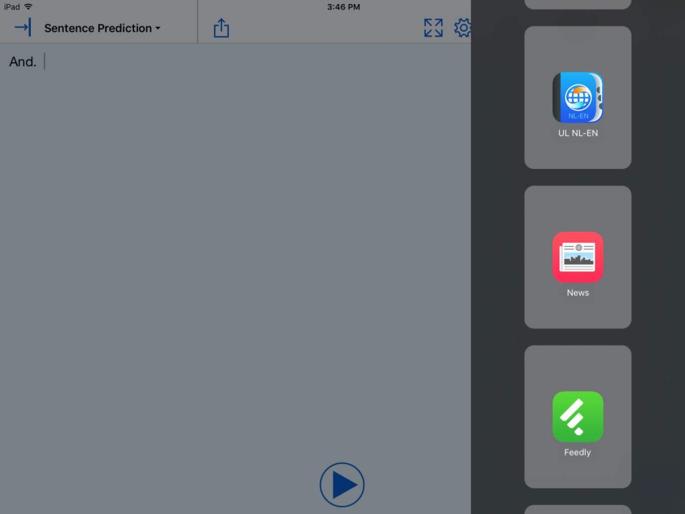 iOS split screen with a list of apps on the right side