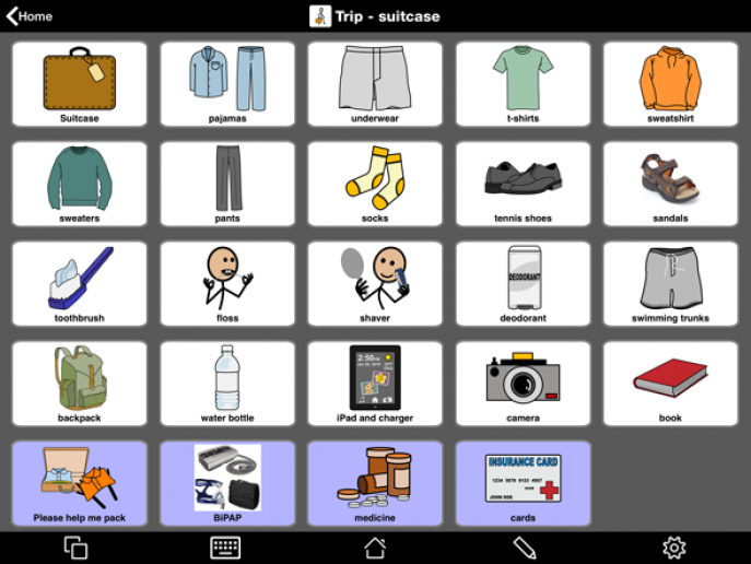 Suitcase page in Proloquo2Go