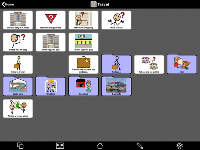 Travel page in Proloquo2Go