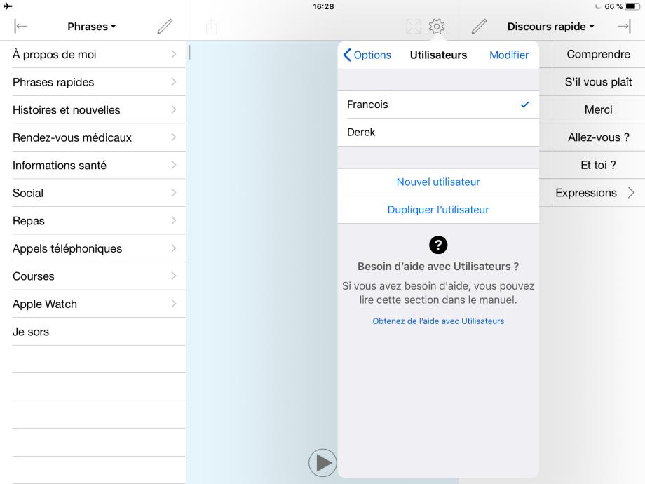 Captures d'écran de Proloquo4Text.