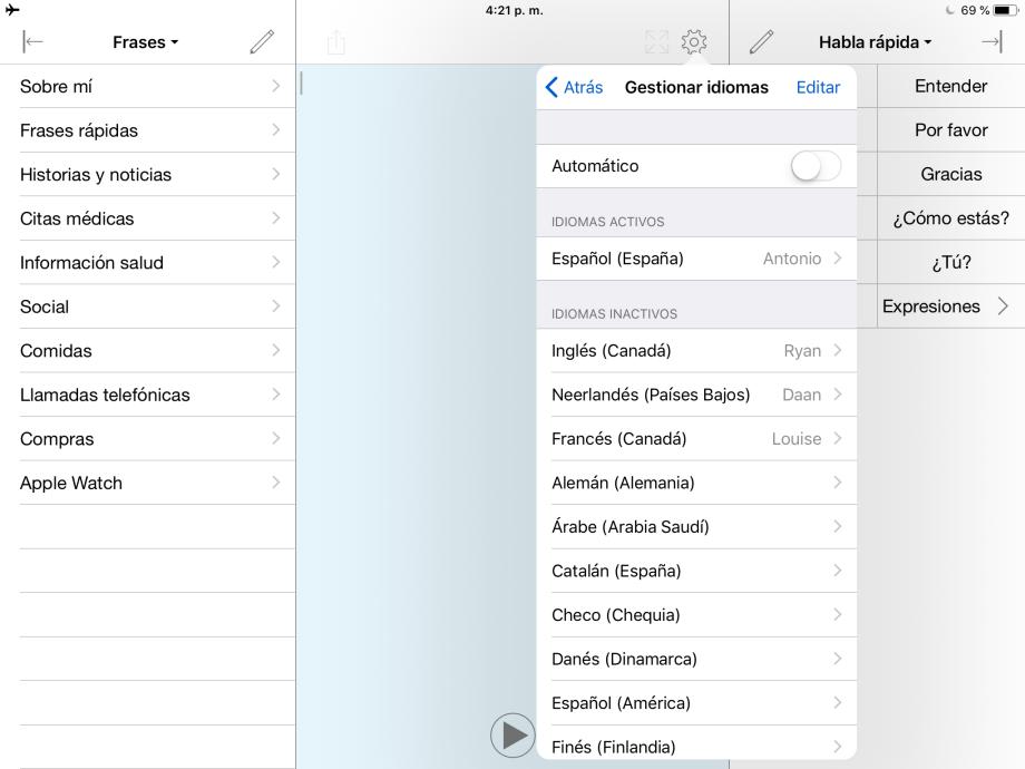 lista de los idiomas configurados manualmente y el botón para cambiar de idioma.