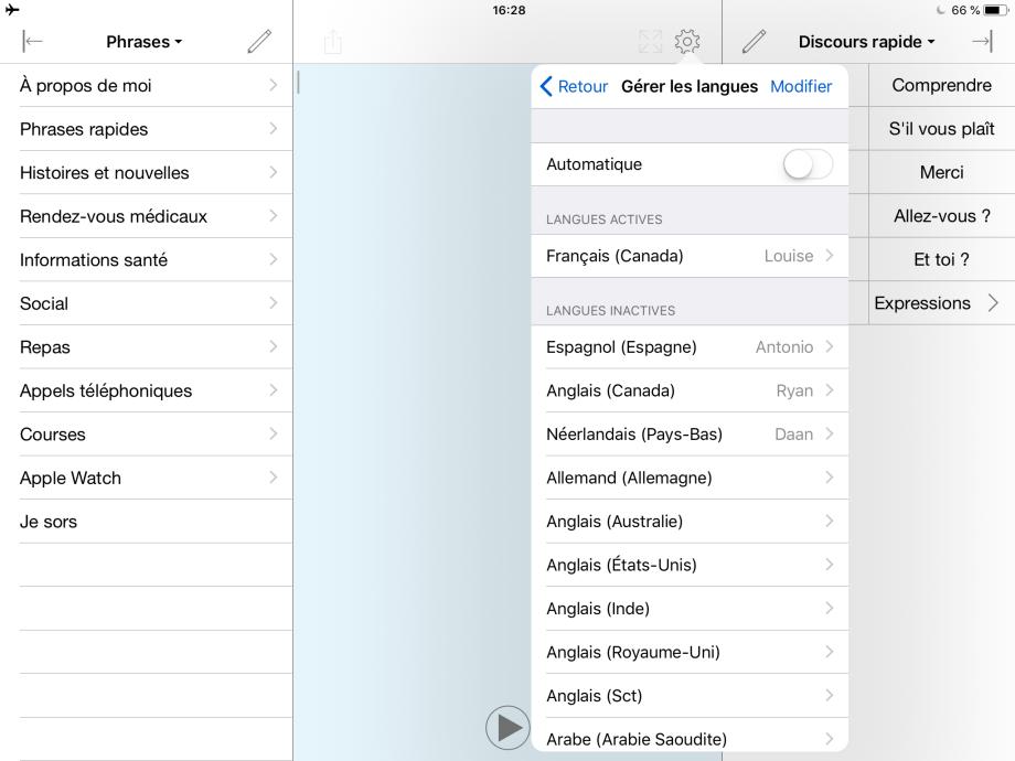 Liste des langues gérées manuellement et Commutateur de langue.