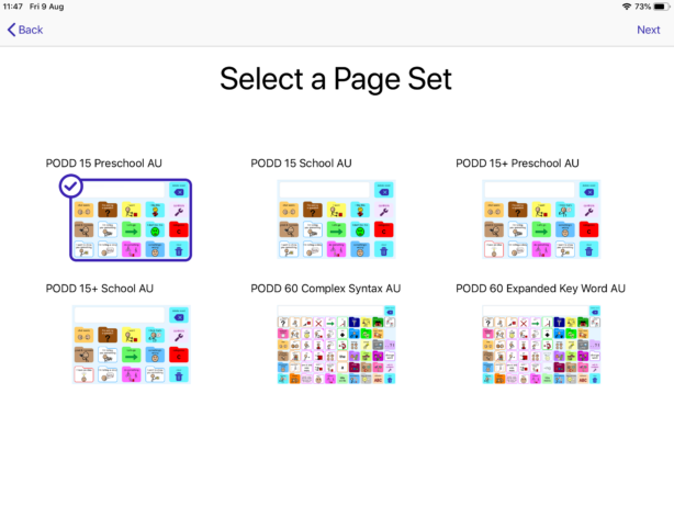The different available page sets in simPODD