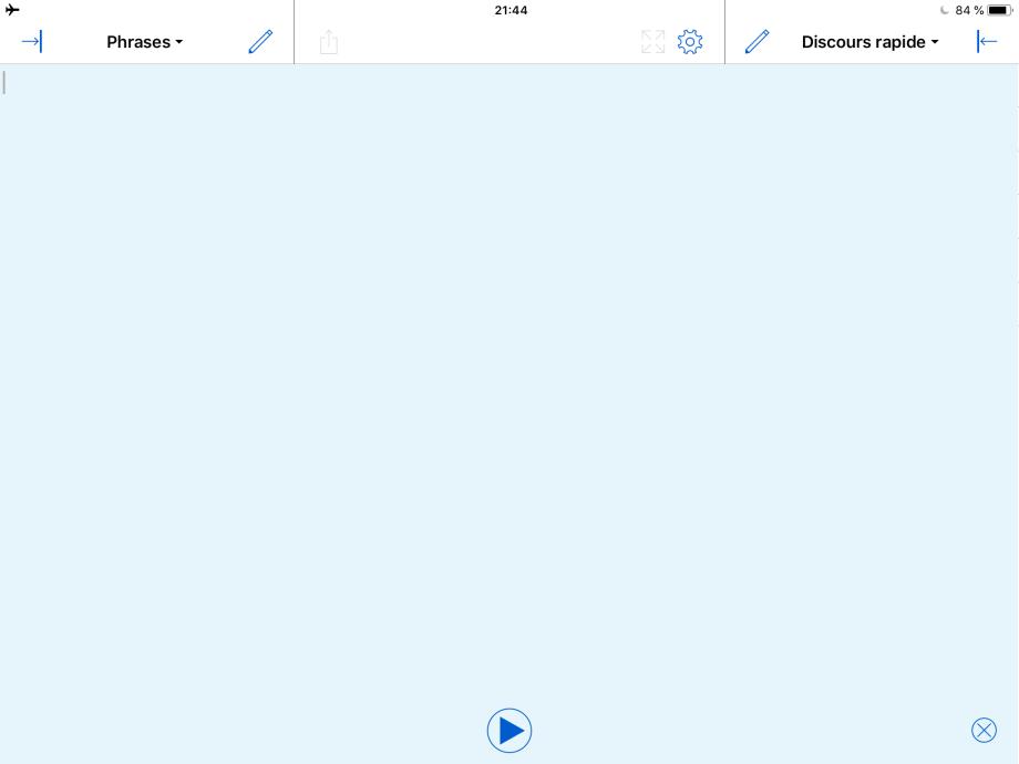 Proloquo4Text sur iPad avec Blocs rapides masqués.