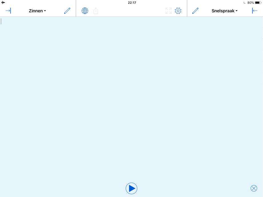 Proloquo4Text op de iPad met verborgen Snelblokken.