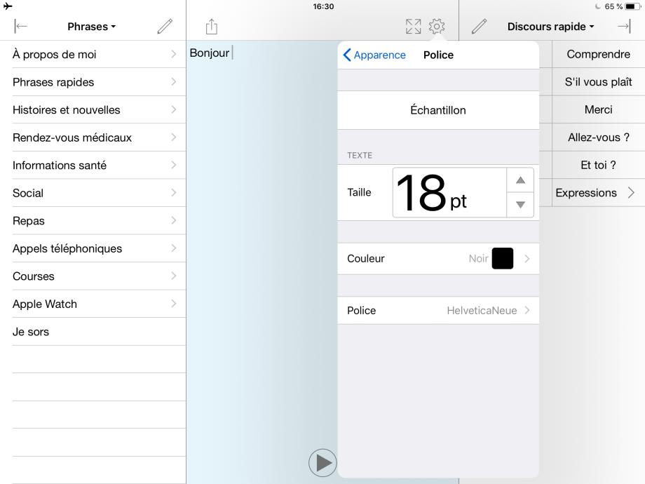 Le menu des polices de caractères, montrant les options disponibles concernant la taille du texte, la couleur et la police.