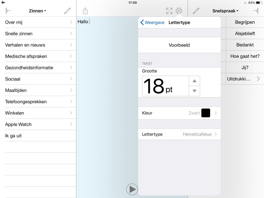Het menu Lettertype in Proloquo4Text.