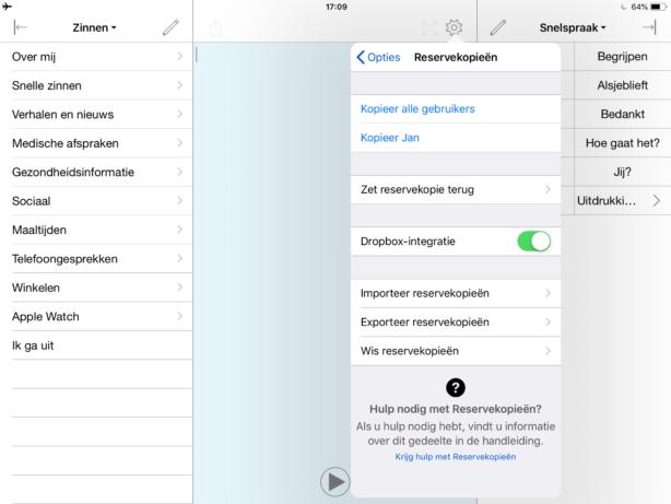Opties voor back-ups, waarbij Dropbox-integratie is ingeschakeld.