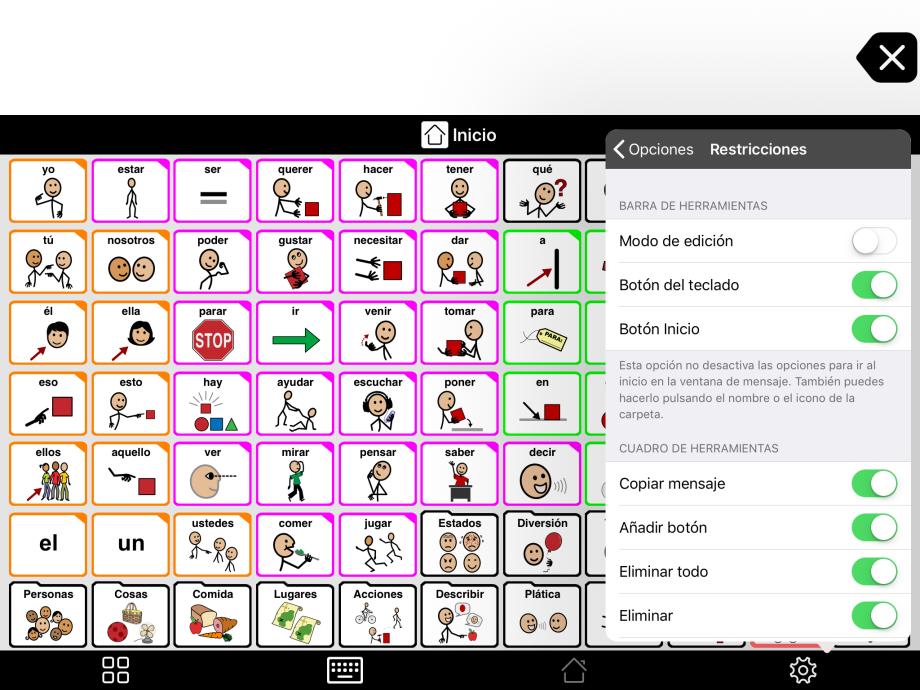 """Captura de pantalla """"Modo edición desactivado y opciones de Restricciones"""""""