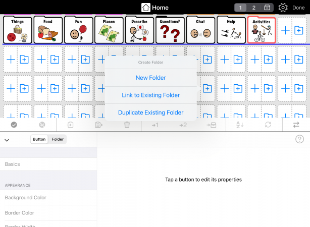 Larger buttons showing separate add functions for buttons and folders