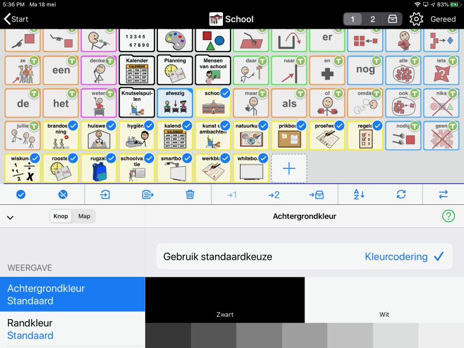 Proloquo2Go in modus Wijzig screenshot