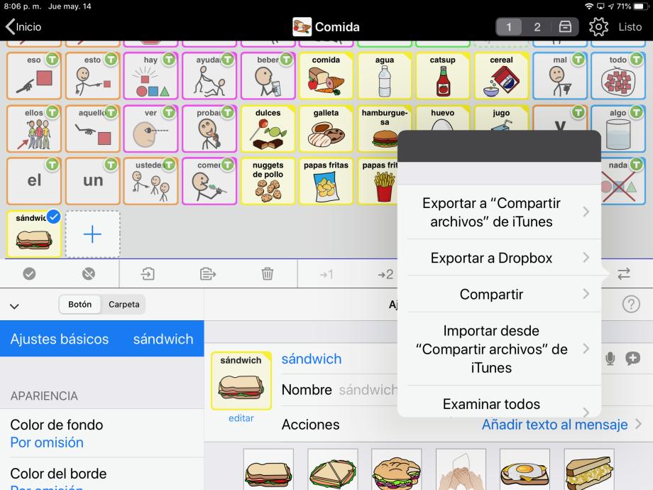 P2 G 7 2 menu de compartir modo edicion