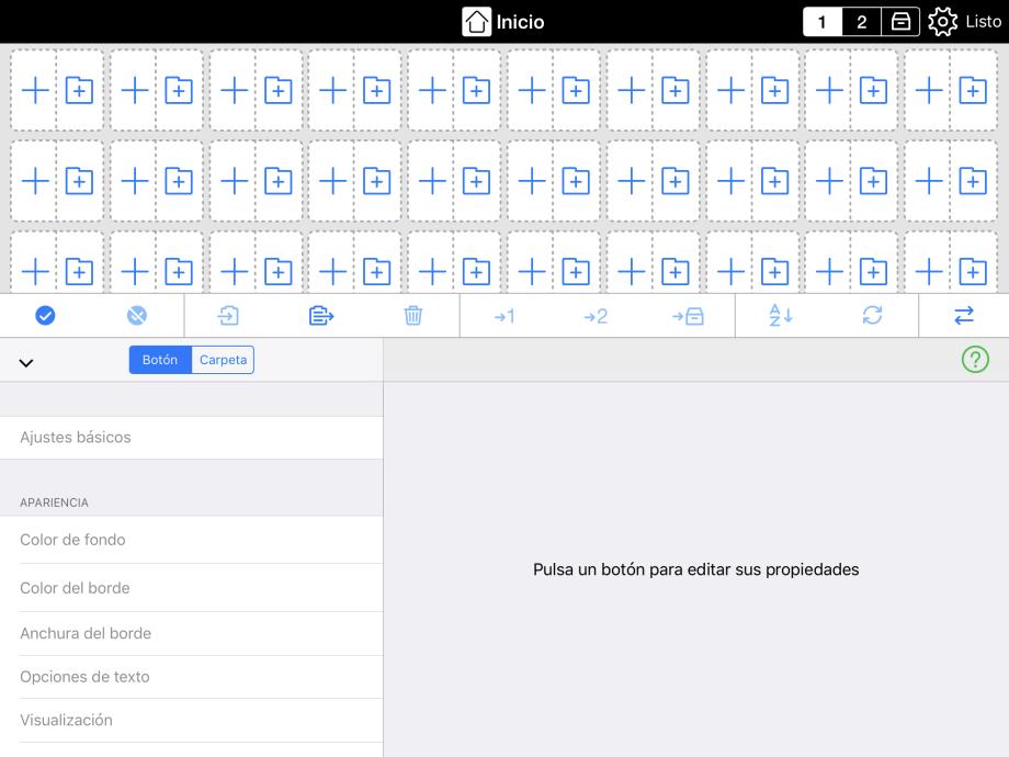 Pequeños botones mostrando la función combinada de añadir botones y carpetas