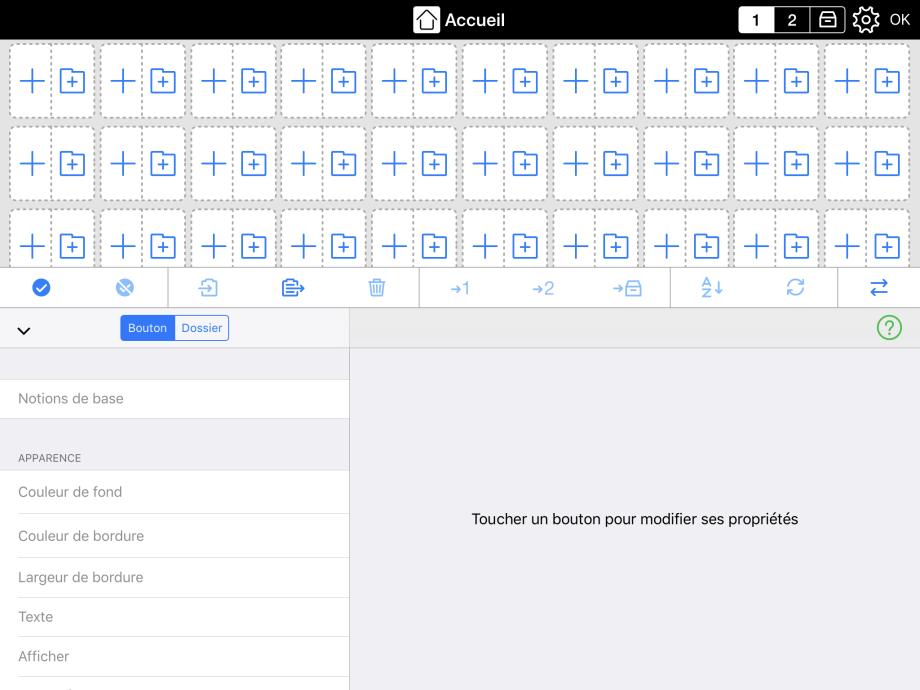 Petits boutons illustrant le choix de créer un bouton de message ou un dossier