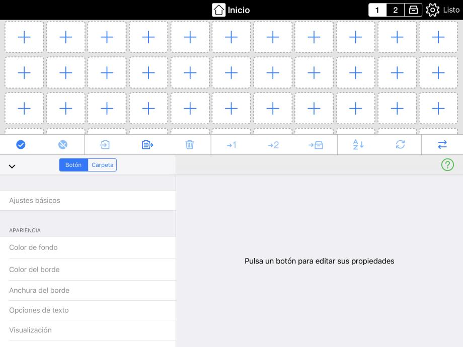Botones grandes mostrando la función combinada de añadir botones y carpetas
