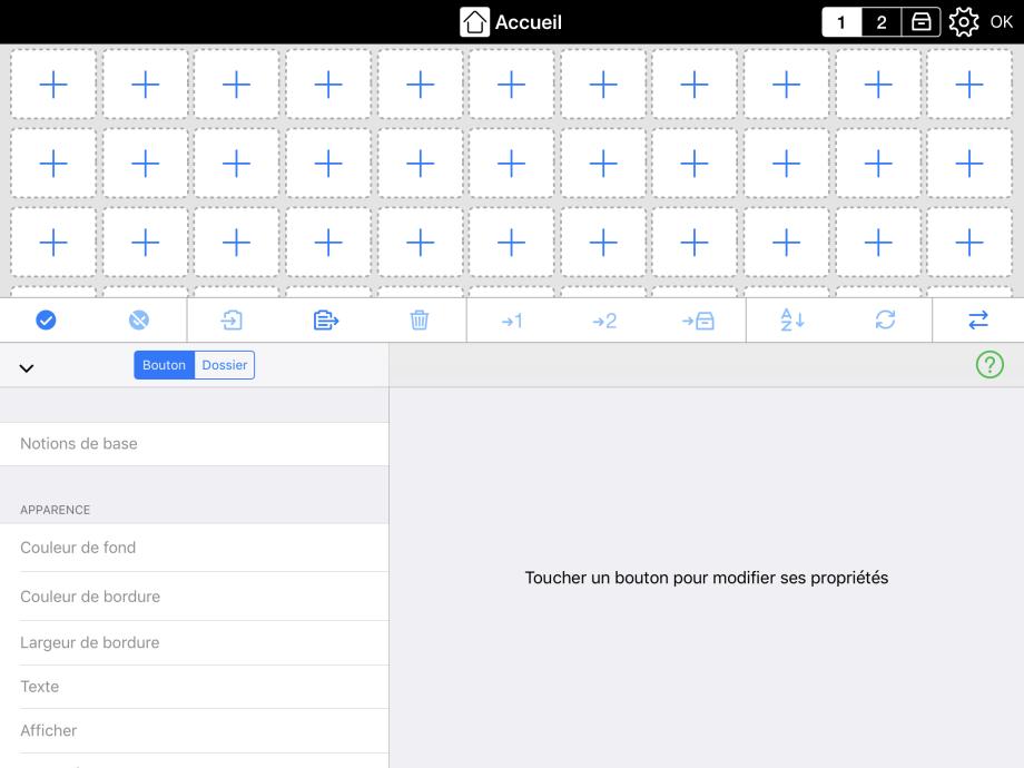 Grands boutons illustrant le choix de créer un bouton de message ou un dossier