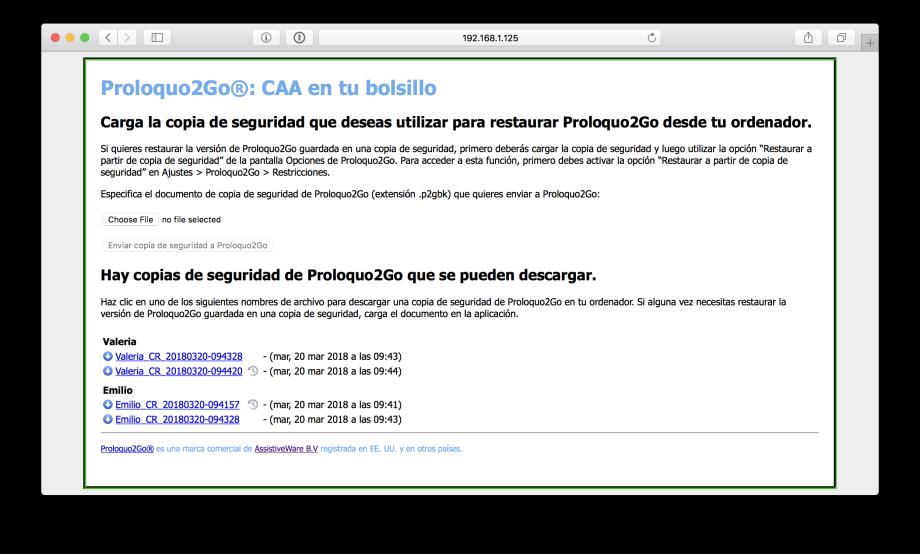 Vista del navegador con el listado de copias de seguridad