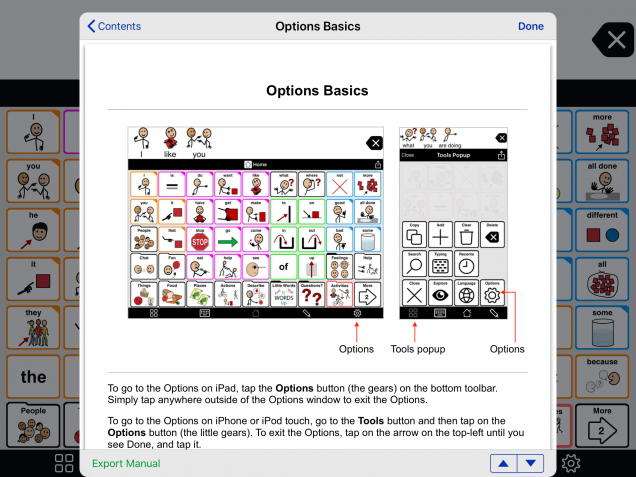 Manual as shown inside the app