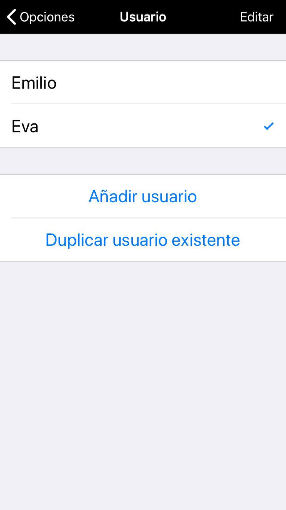 Sección Usuario en Opciones, con la posibilidad de añadir un usuario