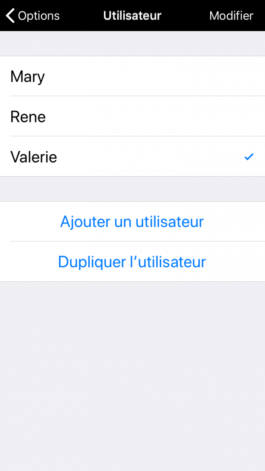 Section Utilisateurs dans les Options, avec possibilité d'ajouter un utilisateur